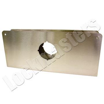 "Picture of DonJo 5-1/8"" x 12"" Wrap Around for Cylindrical Door Locks with 2-1/8"" Hole; Satin Stainless Steel"