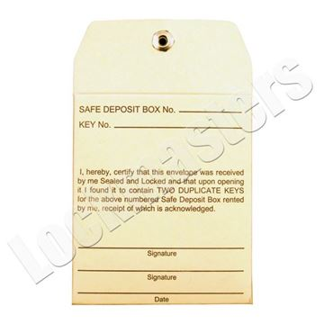 Picture of Security Sealed Safe Deposit Box One Time Use Key Envelope - Sold in Packs of 10