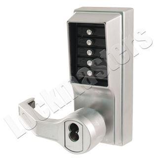 Picture of Simplex L1000 Mechanical Door Lock;  Lever & Key Override; Left Hand - 26D Satin Chrome
