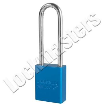 "Picture of American A1107 Series Blue Anodized Aluminum Safety Padlock; 1-1/2"" Wide with 3"" Shackle"