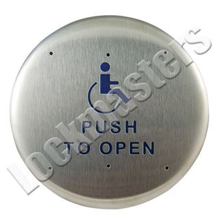 "Picture of BEA Inc 6"" Round Push Plate, Stainless Steel Actuator with Push to Open Text & Handicap Logo"