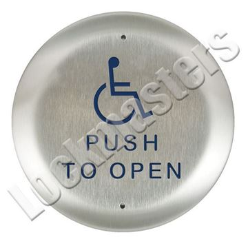 "Picture of BEA Inc 4.5"" Round Push Plate, Stainless Steel Actuator with Push to Open Text & Handicap Logo"