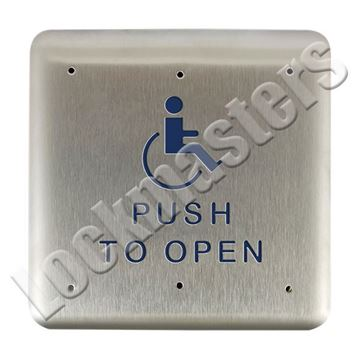 "Picture of BEA Inc 4.75"" Square Push Plate, Stainless Steel Actuator with Push to Open Text & Handicap Logo"