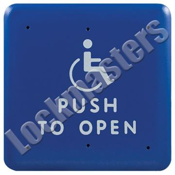 "Picture of BEA Inc .75"" Square Push Plate, Stainless Steel Actuator with Push to Open Text & Handicap Logo; White Text on Blue Plate"