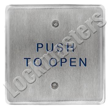 "Picture of BEA Inc 4.5"" Square Push Plate, Stainless Steel Actuator with Push to Open Text"