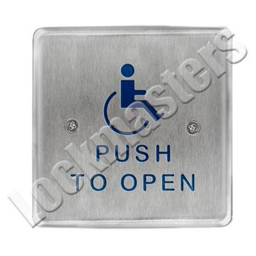 "Picture of BEA Inc 4.5"" Square Push Plate, Stainless Steel Actuator with Push to Open Text & Handicap Logo"