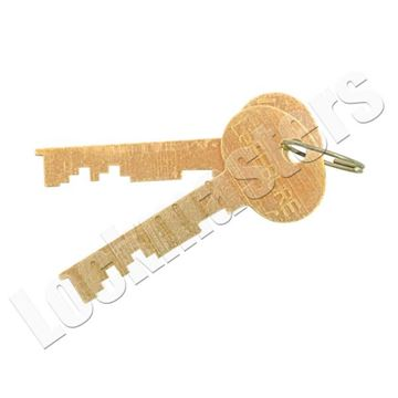 Picture of Bullseye/LeFebure 7750 Series Safe Deposit Lock - Pair of Cut Litter Nose Renter Keys