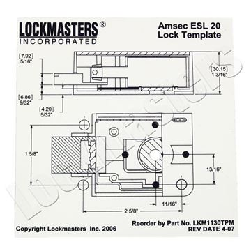 Picture of AMSEC ESL20 Magnetic Drill Template