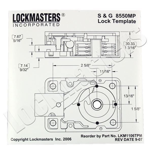 lockmasters s&g 8550 magnetic drill template; lkm1106tpm  safe lock diagram #5