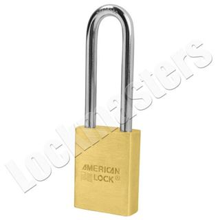 "Picture of American A3602 Series Solid Brass Door Key Compatible Padlock; 1-3/4"" Body with 3"" Shackle"