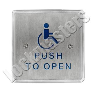 """Picture of BEA Inc 4.5"""" Square Push Plate, Stainless Steel Actuator with Push to Open Text & Handicap Logo"""