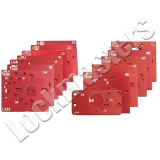 Picture of Set of 13 Magnum Bullet II Drill Rig Aluminum Mechanical and Electronic Safe Lock Drill Templates