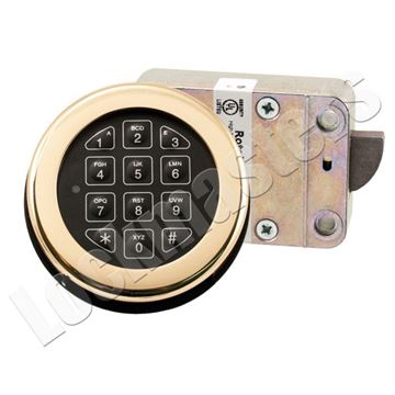 Picture of Lp Locks Roto Bolt Electronic Safe Lock Package - Bright Brass Keypad