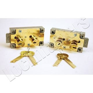 Picture of S&G 4440 Series Safe Deposit Fixed Lever Left Hand Lock - Brass Finish