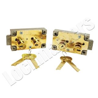 Picture of S&G 4440 Series Safe Deposit Fixed Lever Right Hand Lock - Brass Finish