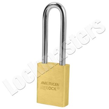"""Picture of American A3602 Series Solid Brass Door Key Compatible Padlock; 1-3/4"""" Body with 3"""" Shackle"""