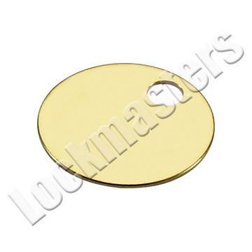 """Picture of 1-1/4"""" Solid Brass Circle Tag with hole - box of 100"""