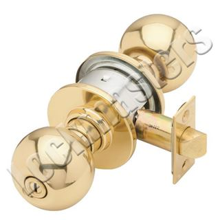 Picture of Schlage A Series Orbit Knob Cylindrical Lock; Entrance; Bright Brass
