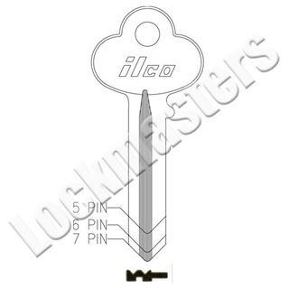 Picture of Ilco Corbin Russwin 1001 Master 5 Pin Key Blank; EG Keyway; EZ CO36