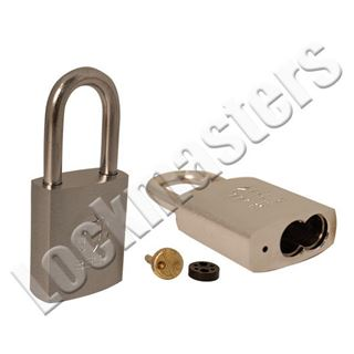 """Picture of Best Access 21B Series Brass Padlock; Shackle Height: 2""""; Satin Chrome"""