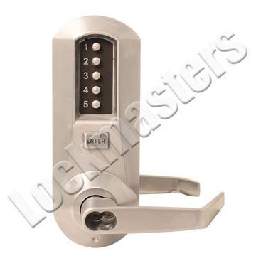 Picture of Dormakaba Mechanical Pushbutton Lock w/ Winston Lever: Satin Chrome