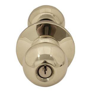 Picture of Dexter C2000 Series Grade 2 Storeroom Ball Knob Cylindrical Lock; Bright Brass