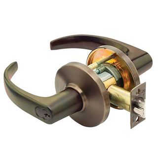 Picture of Best Access Solutions Entrance Cylinder Lock & Lever Set: Single-Keyed : Dark Bronze