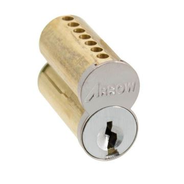 """Picture of Arrow Uncombinated 7-Pin Interchangeable Core """"A"""" Keyway: Satin Chrome"""